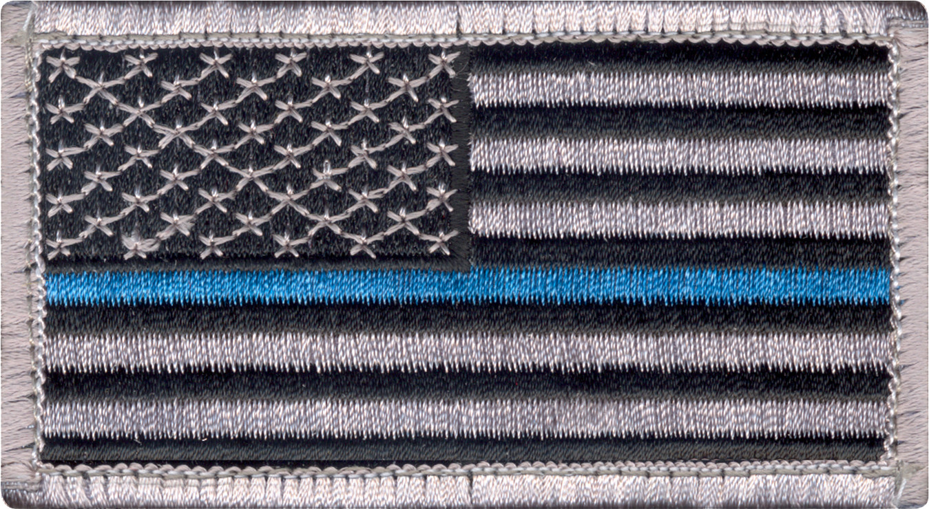 Thin Blue Line Police Pride Hook Loop USA Flag Patch c8f109b48be