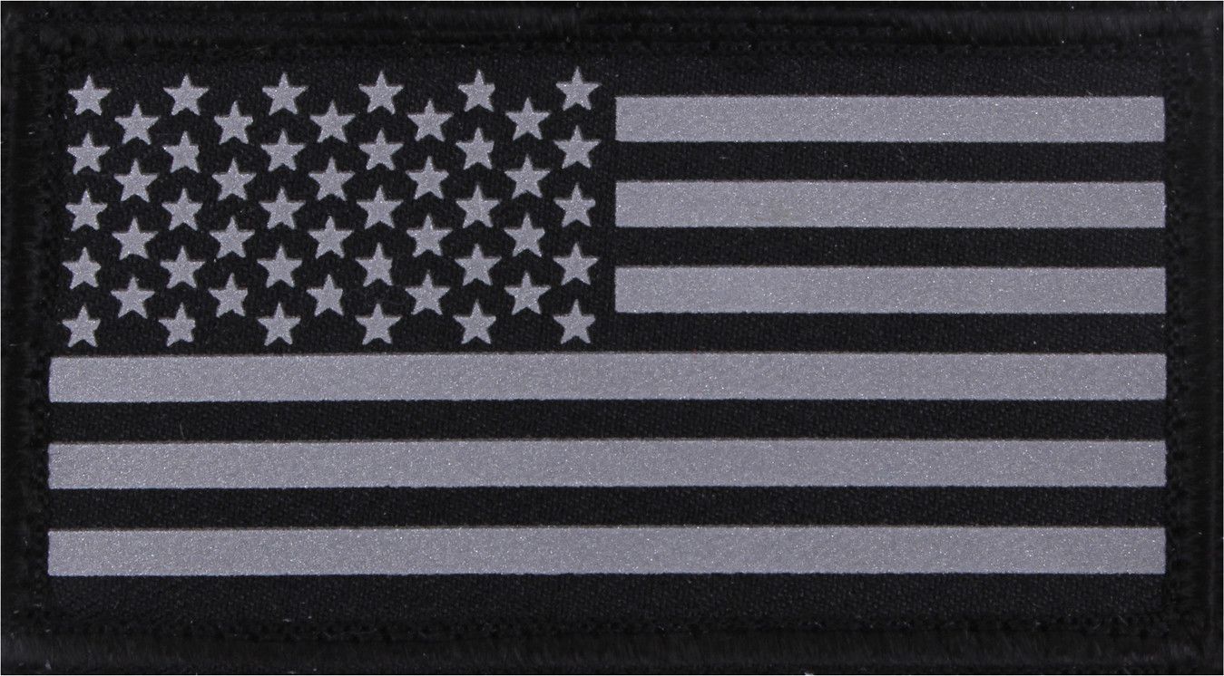 Black   Silver Subdued Reflective American Flag Hook Back Flag Patch 8121e1f957e