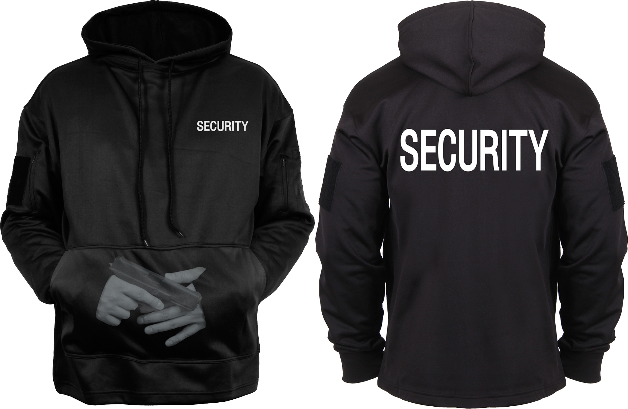 Black Double Sided Security Concealed Carry Tactical Hooded ... 81f2963c5e5