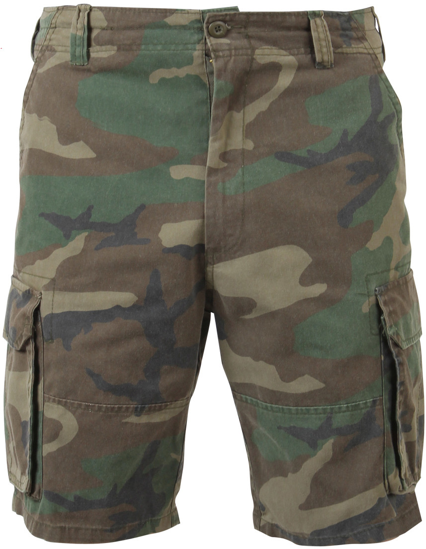 Woodland Camouflage Vintage Military Paratrooper Cargo Shorts d366446a85b