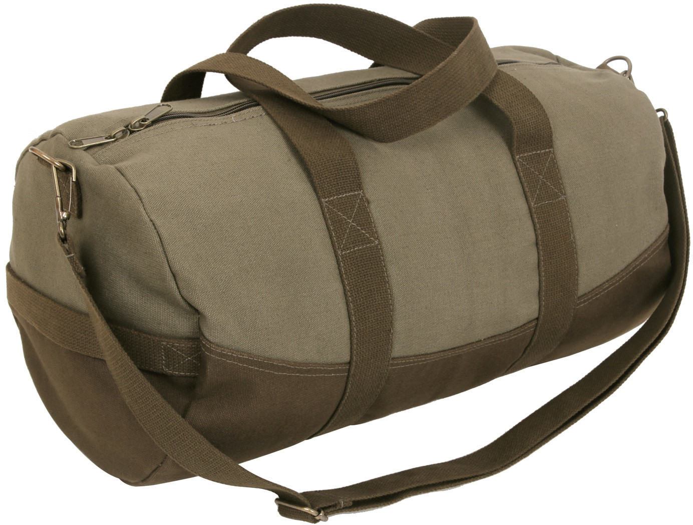Two-Tone Canvas Duffle Bag With Brown Bottom e7b15143c97
