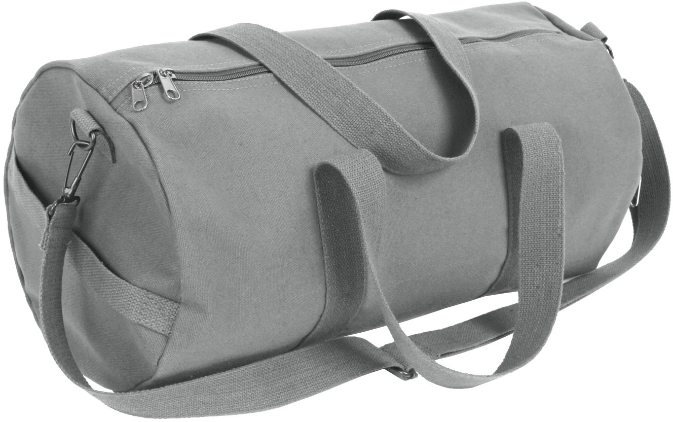 Grey Canvas Sports Gym Duffle Shoulder Carry Bag 740e75ebe0d