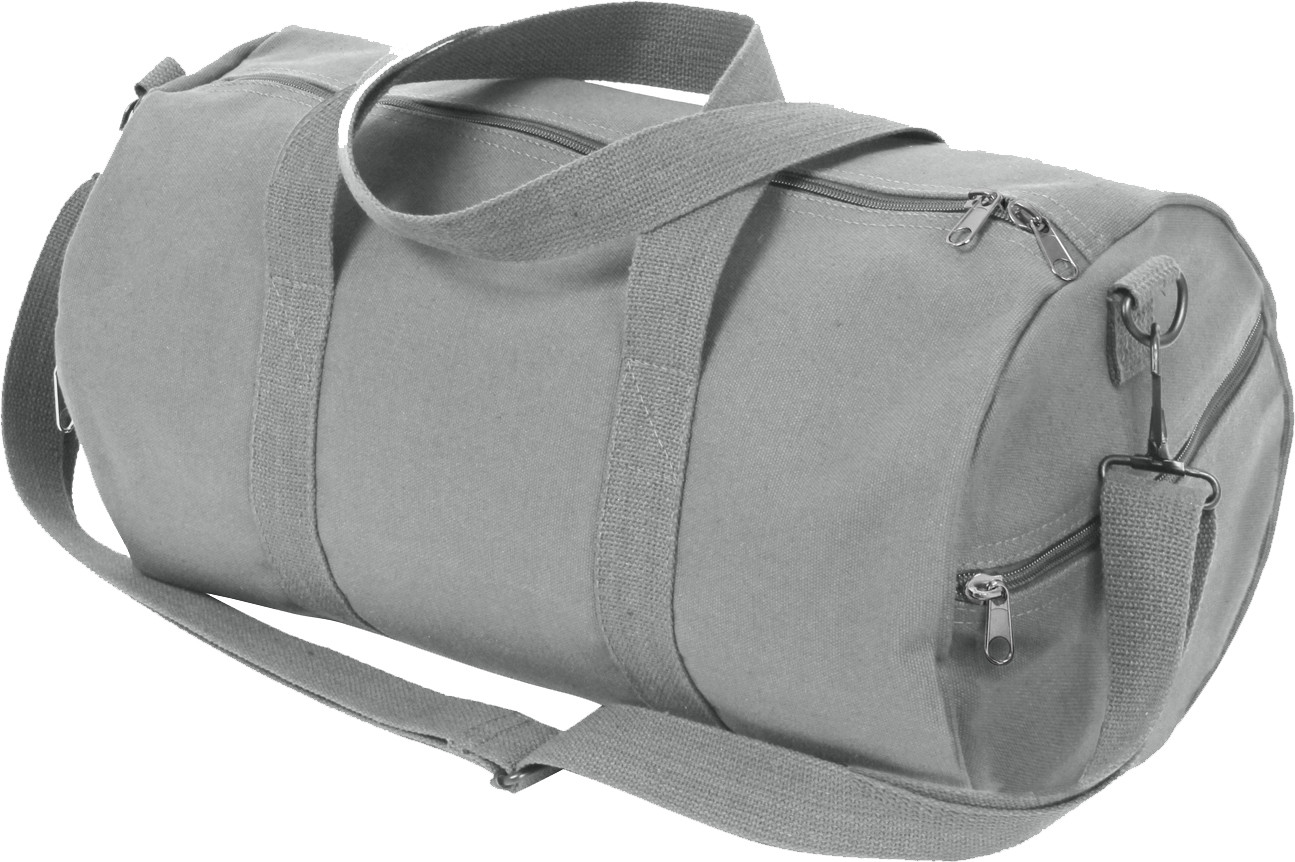 Grey Canvas Sports Gym Duffle Shoulder Carry Bag ae6c2281b0f