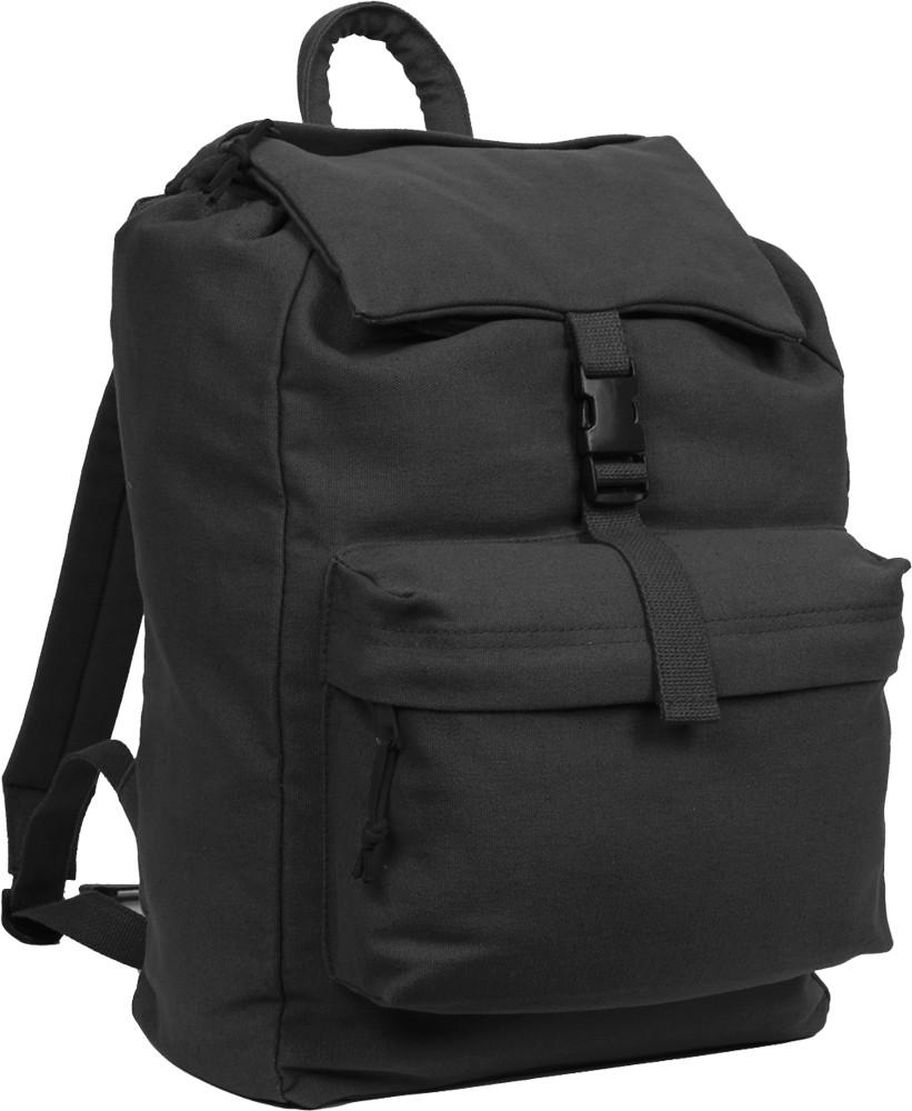 Black Military Heavyweight Canvas Day Pack Backpack