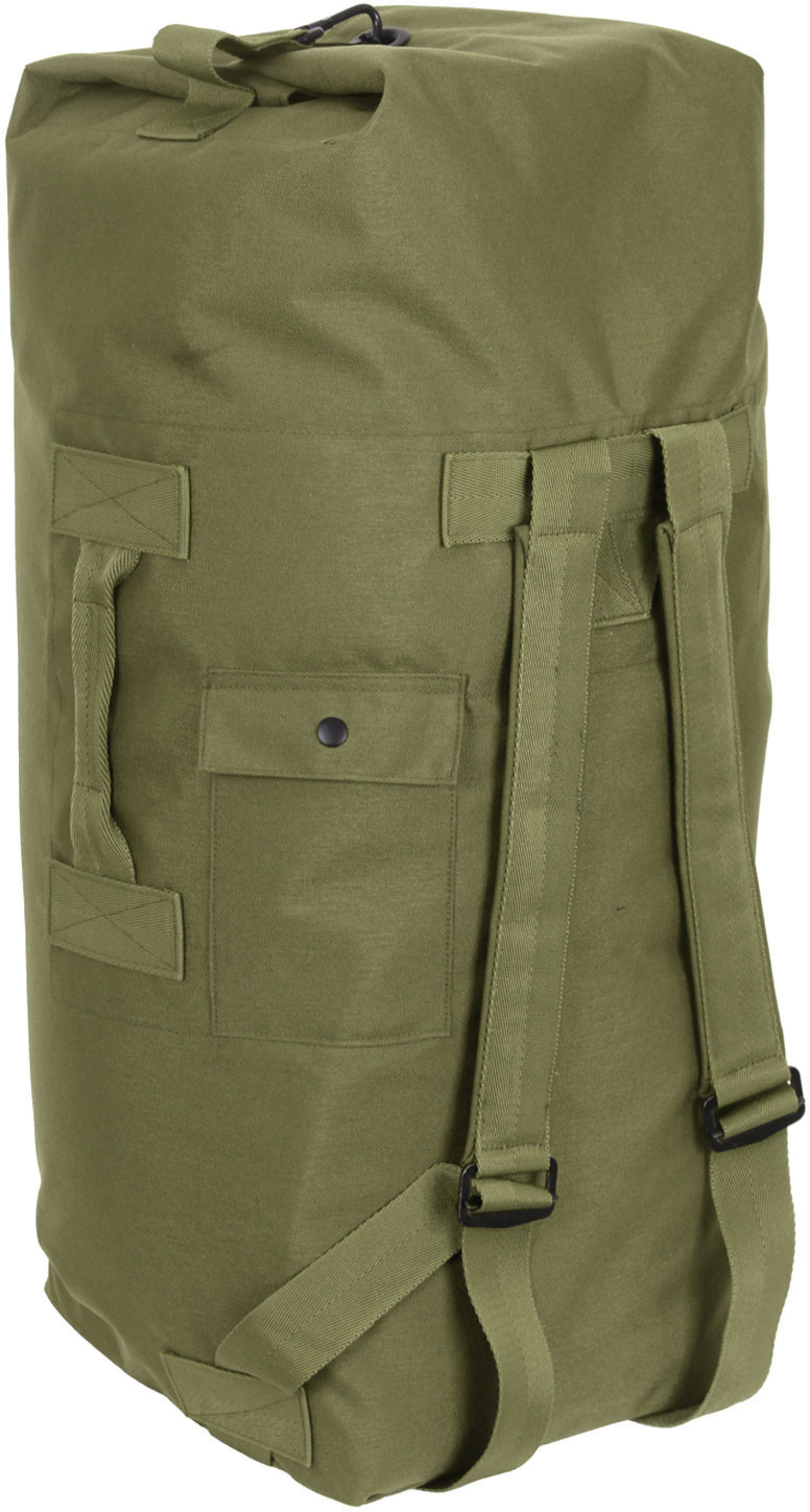 Olive Drab Top Load Nylon Duffle Bag with Backpack Straps 5f0045b1654