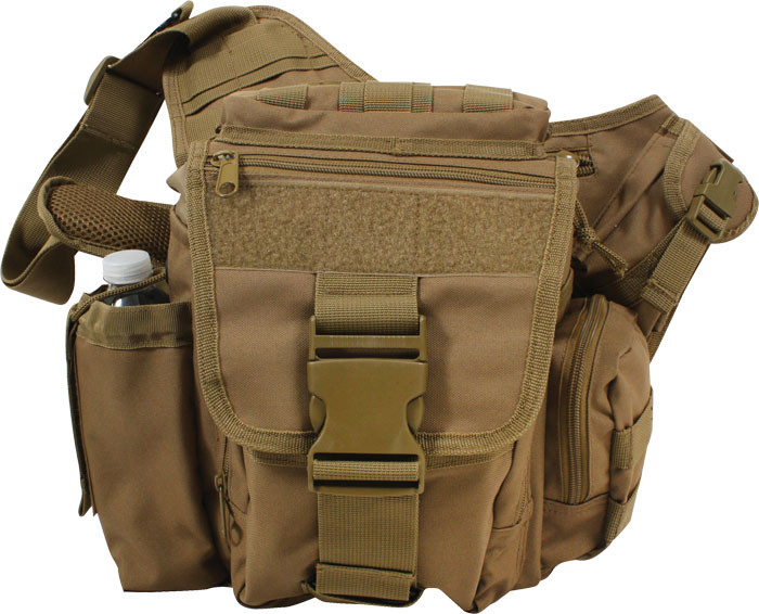 ... Coyote Brown Military MOLLE Advanced Tactical Shoulder Bag Front a1b67a726bd