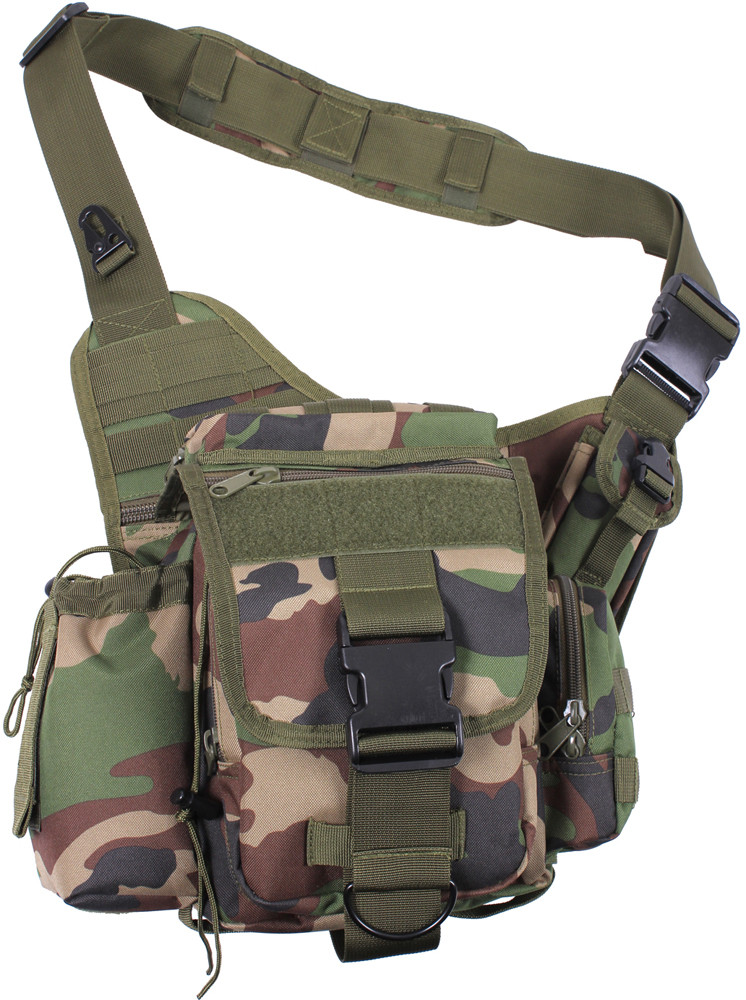 Woodland Camouflage Military MOLLE Advanced Tactical Shoulder Bag c3f024a842f