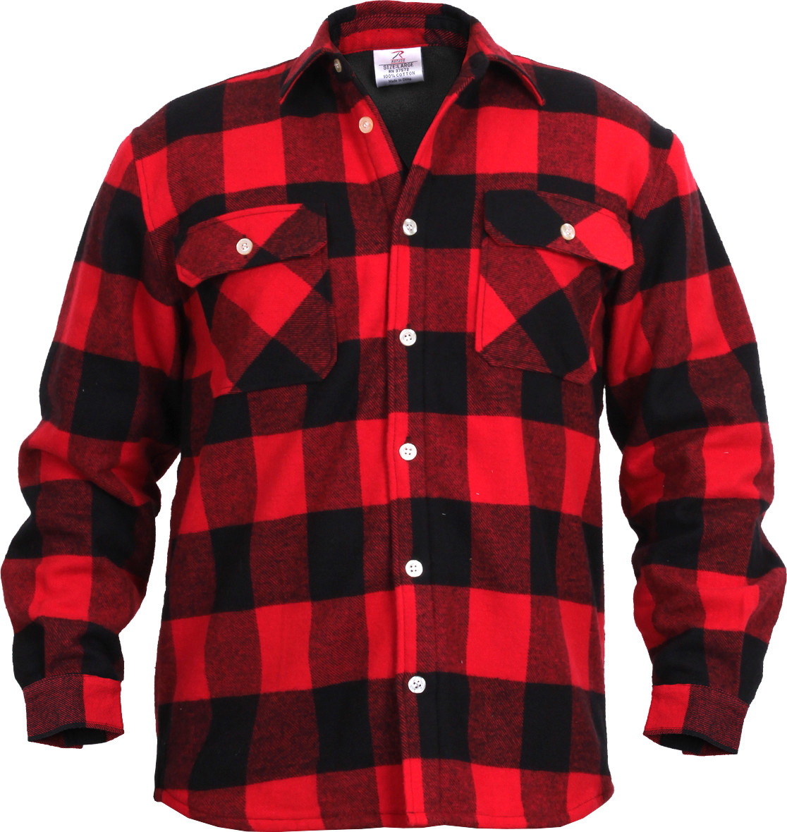 red extra heavyweight brawny buffalo plaid fleece lined