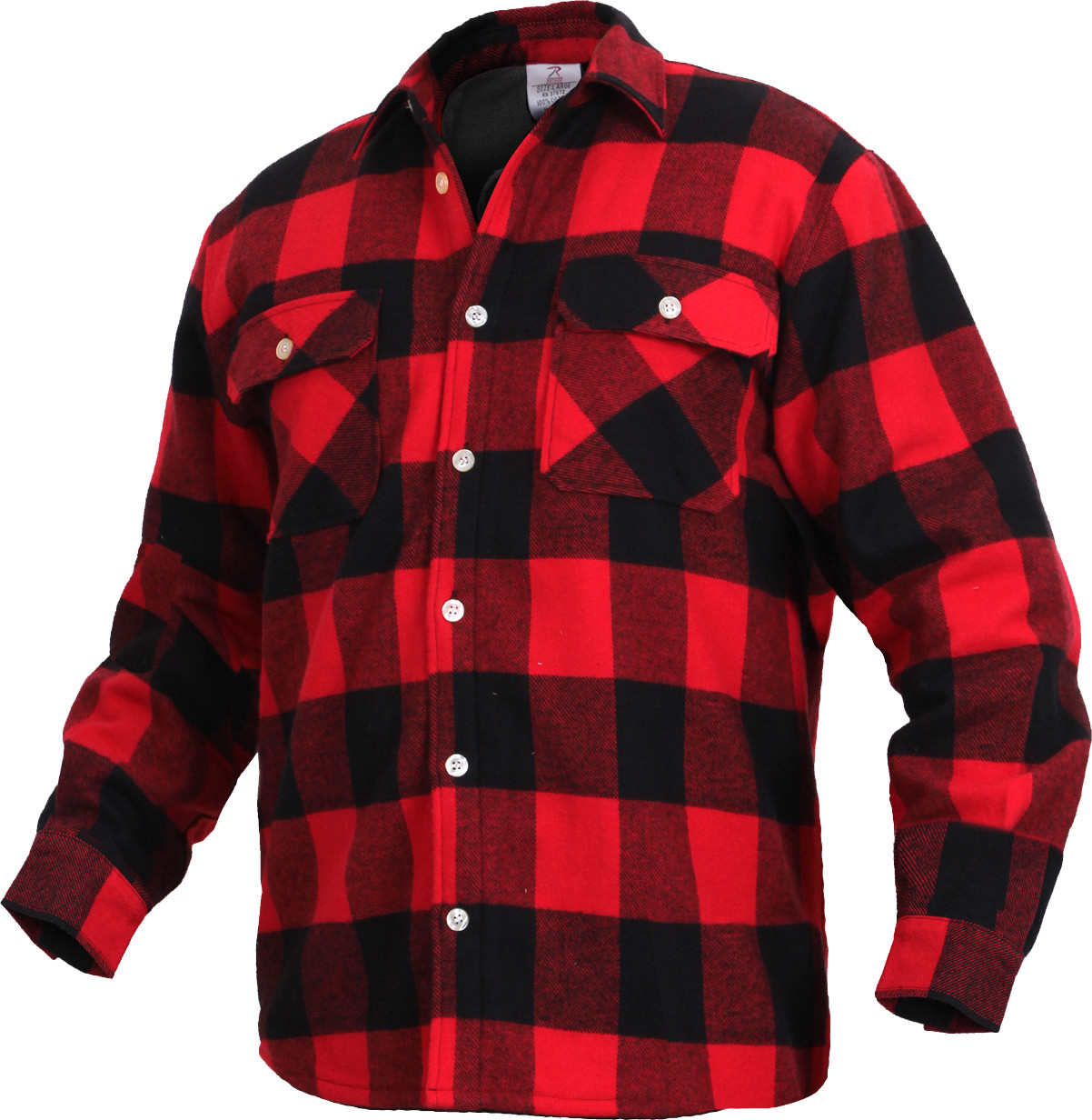 Red Extra Heavyweight Brawny Buffalo Plaid Fleece Lined Flannel Shirt 5b0db16016c