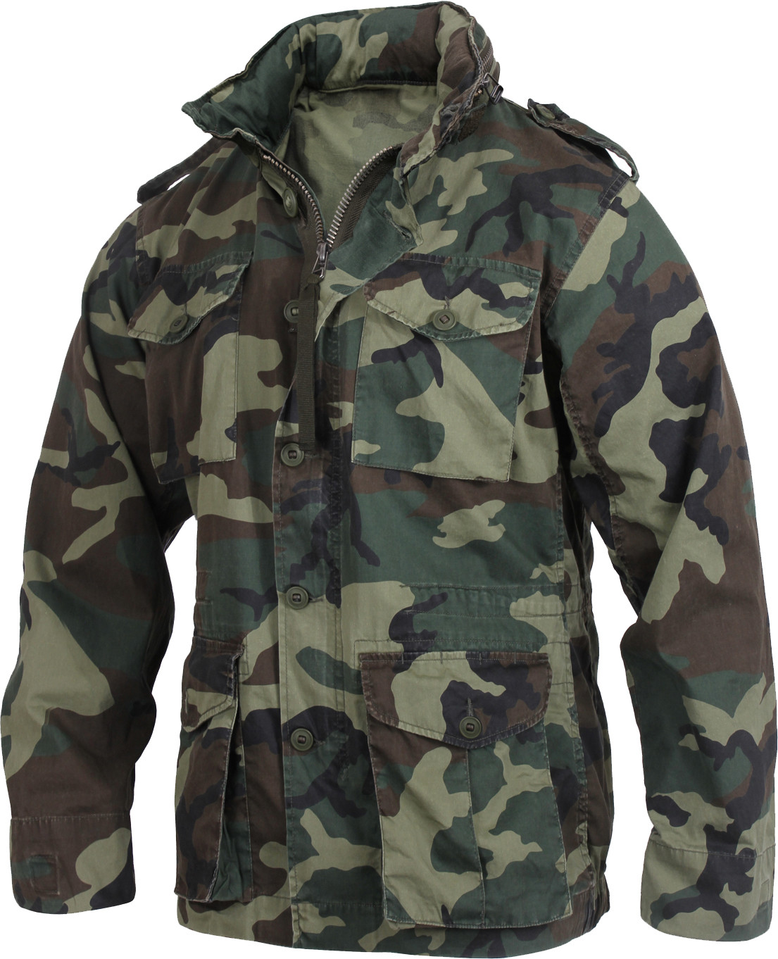 Woodland Camouflage Vintage Military Tactical Lightweight M-65 Field Jacket e88cf994cd8