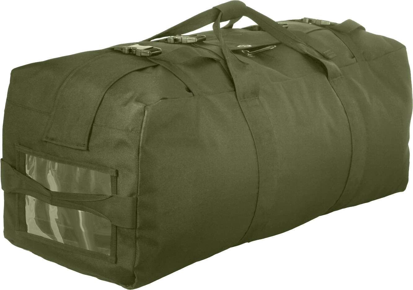 Olive Drab Enhanced Large Military Nylon Duffle Bag w  Backpack Straps abf68fd0dd6