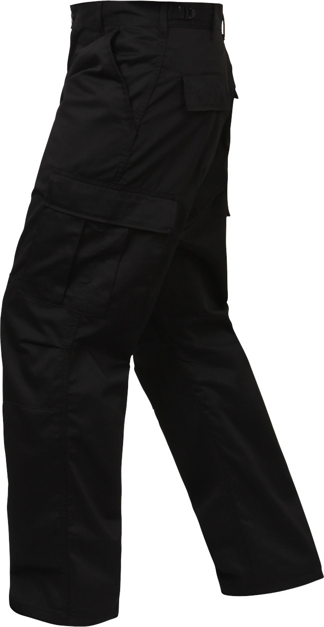 Black Relaxed Fit Zipper Fly Military Cargo Fatigue Trousers BDU Pants ea4b3b61dff