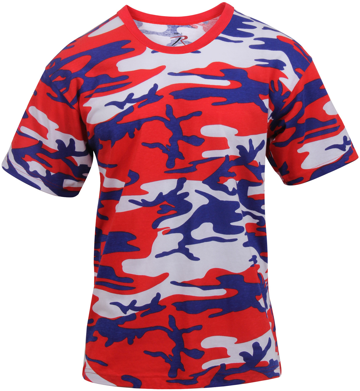 5cff7b4d Red White Blue Camouflage Military Short Sleeve T-Shirt