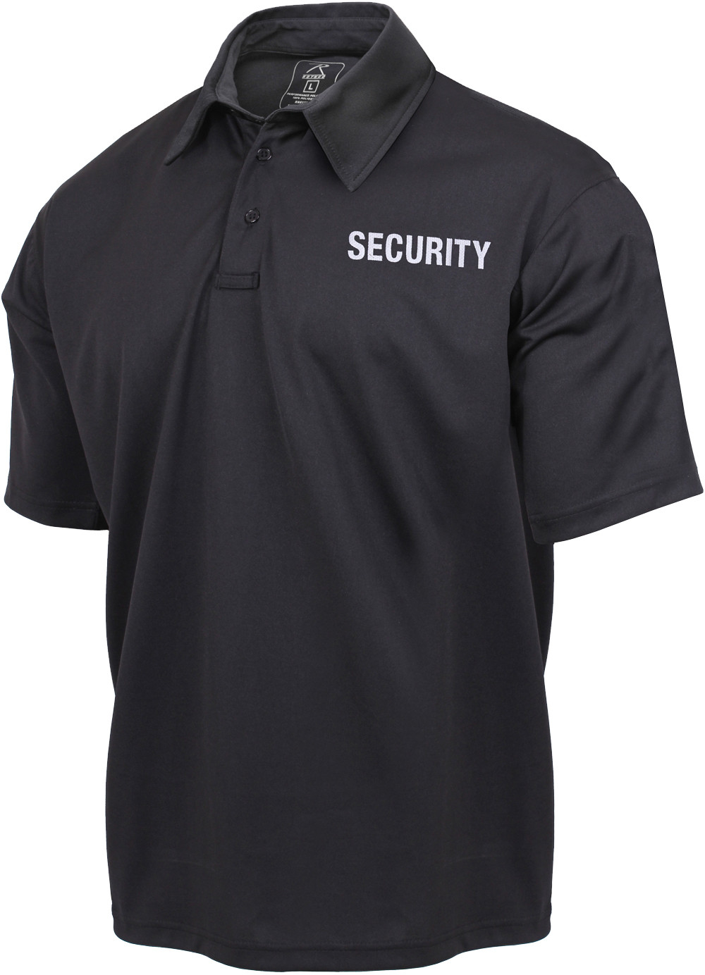 Black moisture wicking security double sided polo golf shirt for Moisture wicking golf shirts