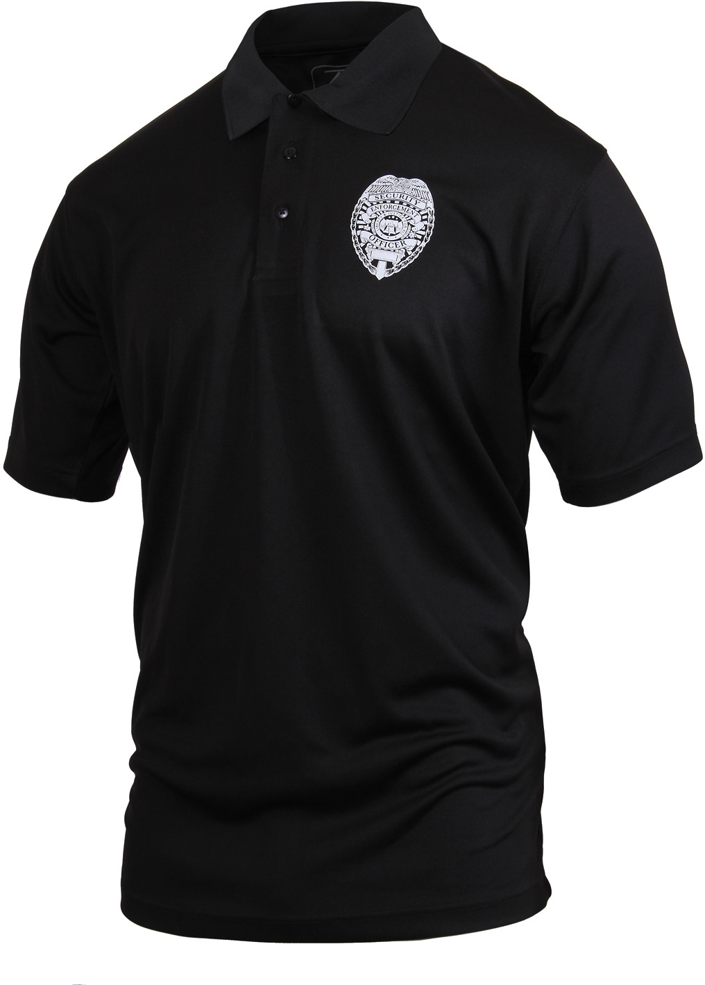 Black moisture wicking security enforcement officer double for Black golf polo shirt