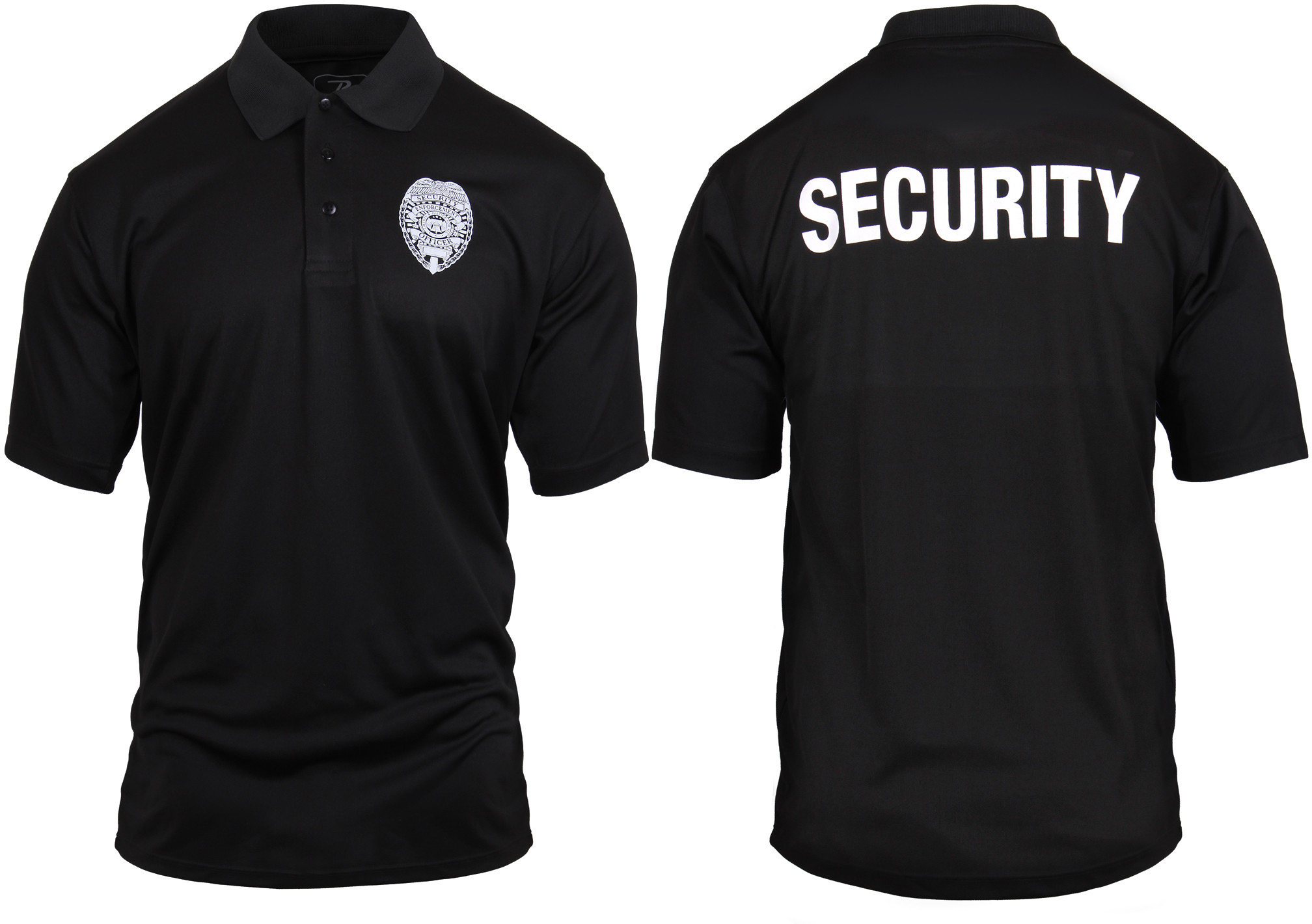 Black Moisture Wicking SECURITY Enforcement Officer Double Sided ... 6702bdef83d