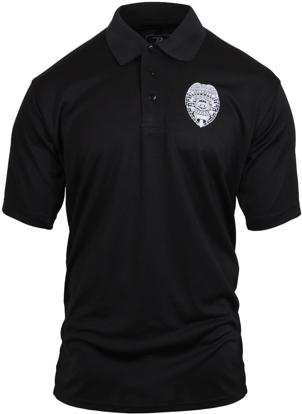 Black moisture wicking security enforcement officer double for Moisture wicking golf shirts