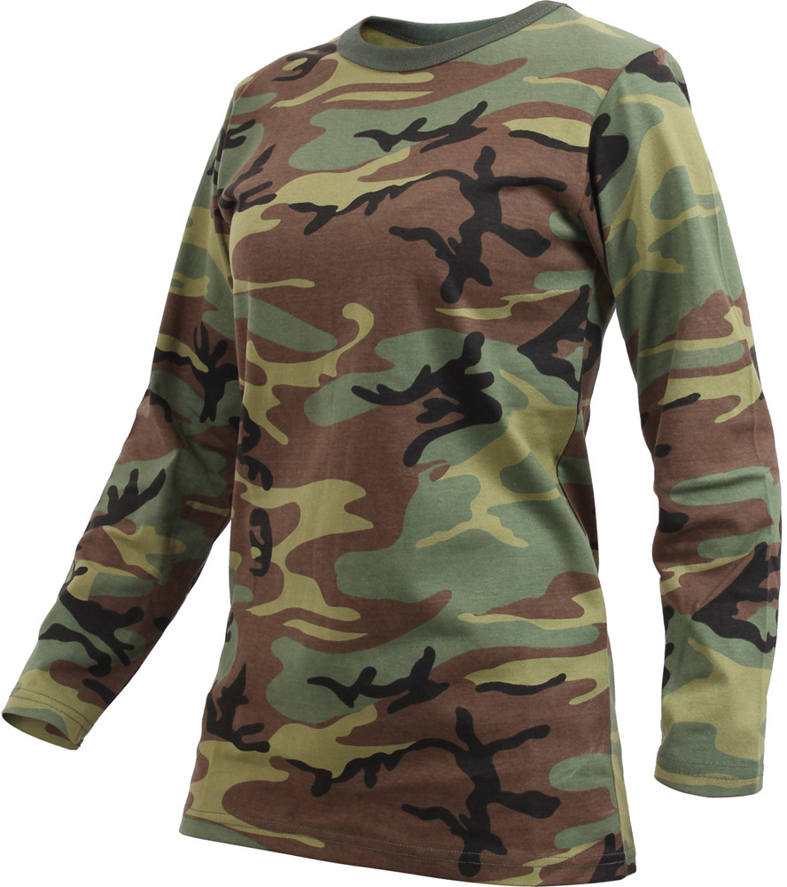8f42bd12af42 ... Womens Woodland Camouflage Long Sleeve Long Length Military T-Shirt ...