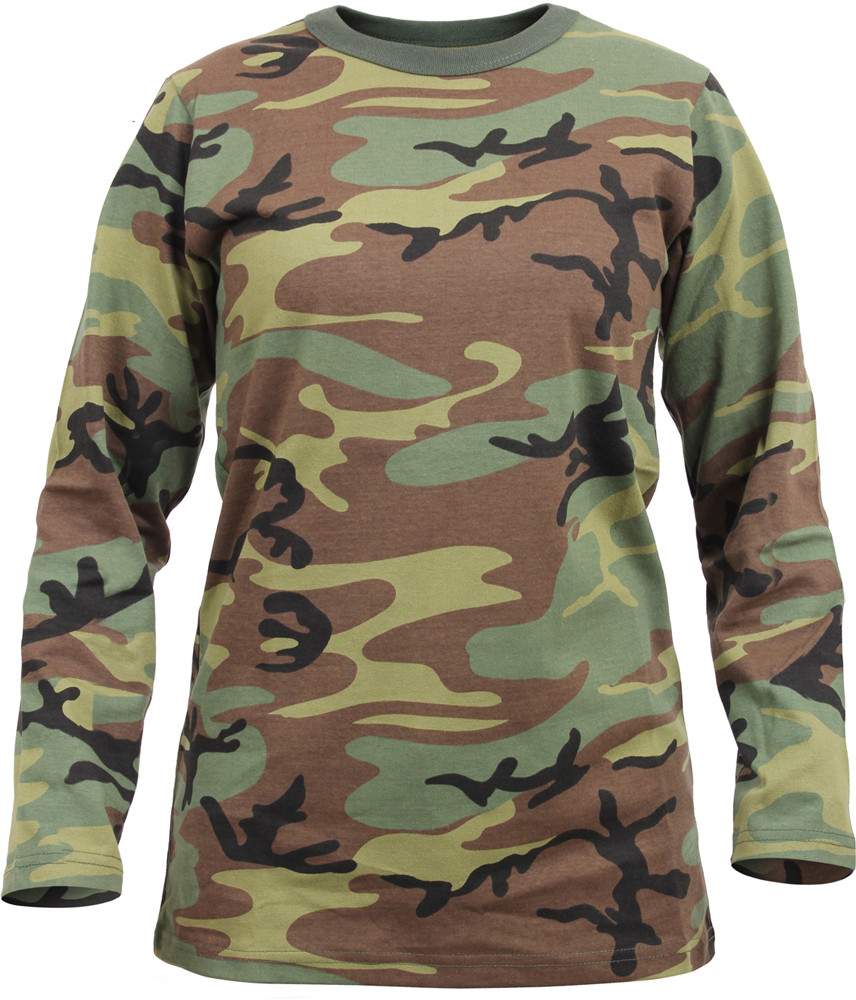 935693e4720c Womens Woodland Camouflage Long Sleeve Long Length Military T-Shirt