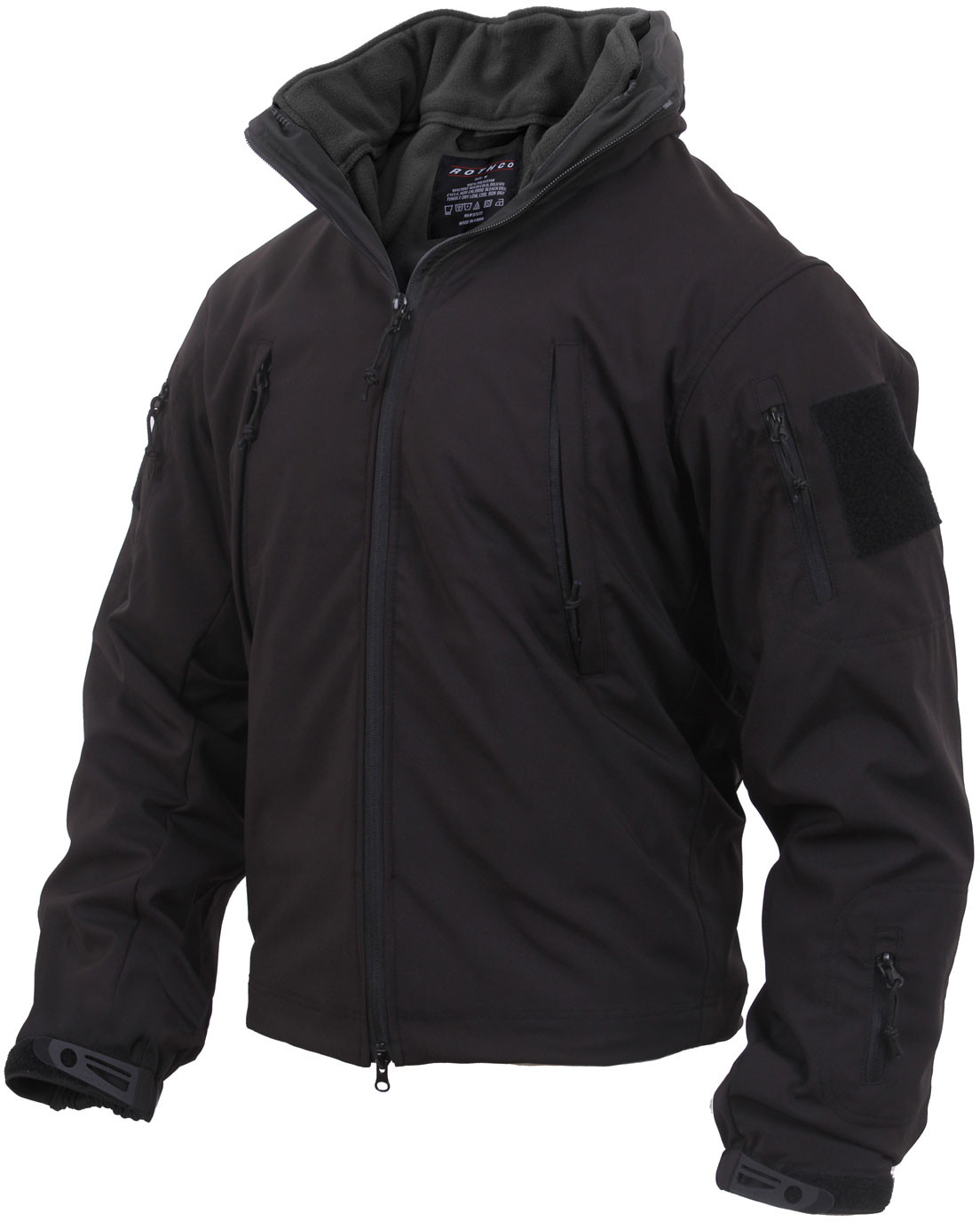 Black Military Systems 3 Season Waterproof Soft Shell Jacket with Fleece  Liner 6b99dba6f4a