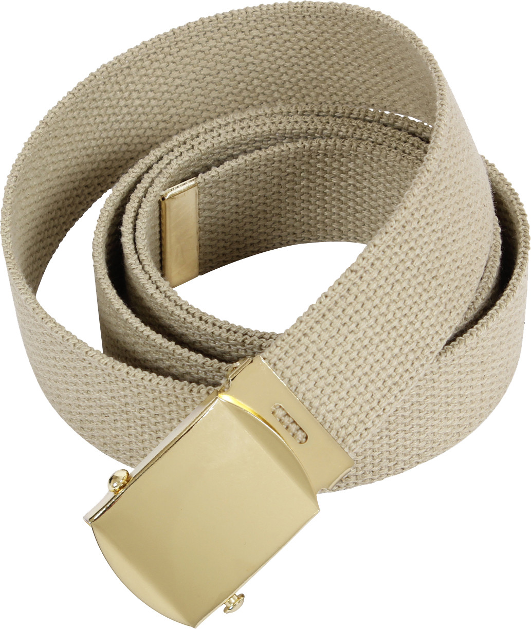 Khaki Military Web Belt with Brass Buckle 70770f1c9ba