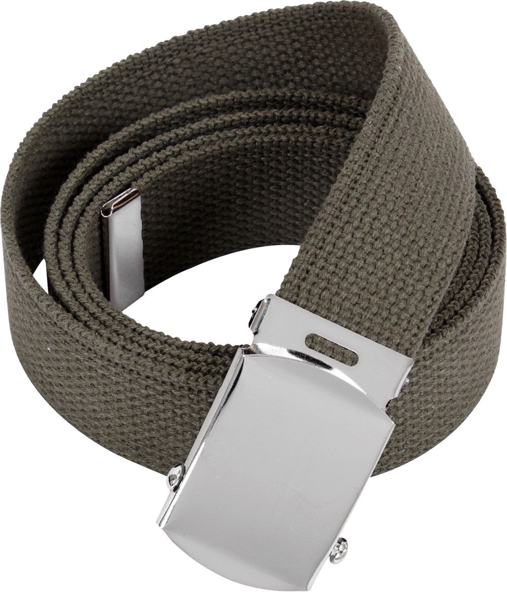 Olive Drab Military Web Belt with Chrome Buckle (54