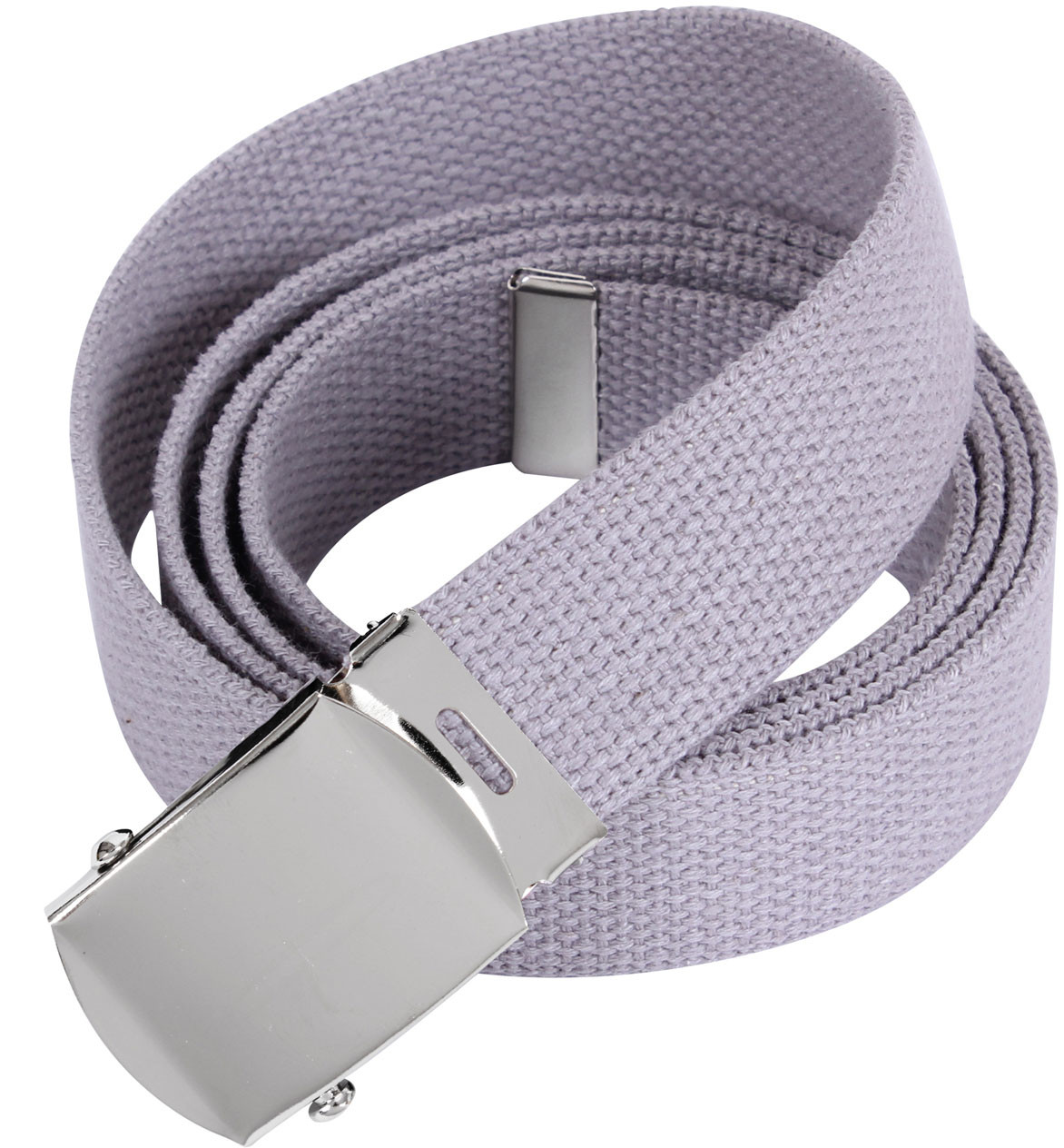 Grey Military Web Belt With Chrome Buckle (54