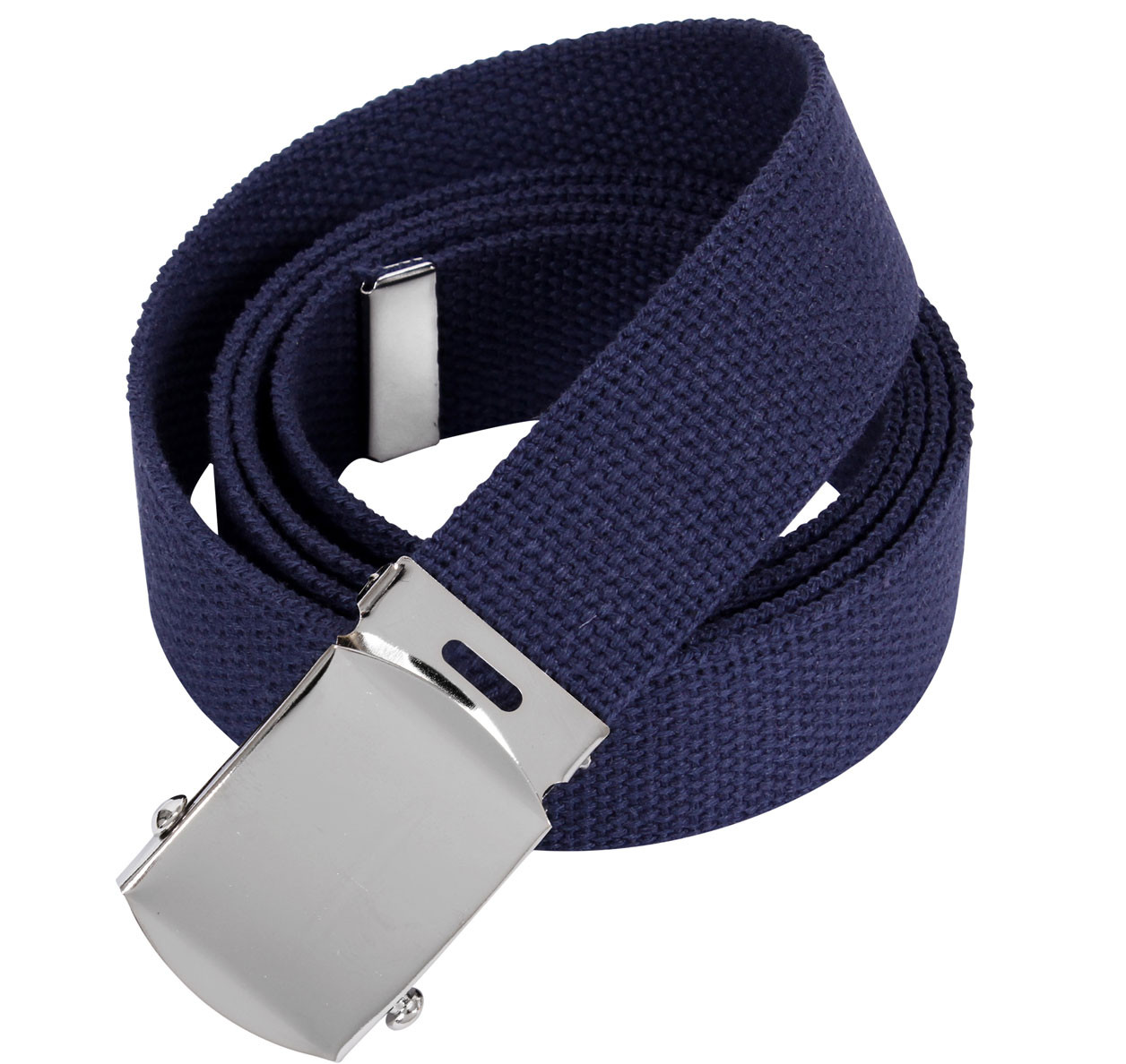 Navy Blue Military Web Belt with Chrome Buckle 4ad1bb74a3e