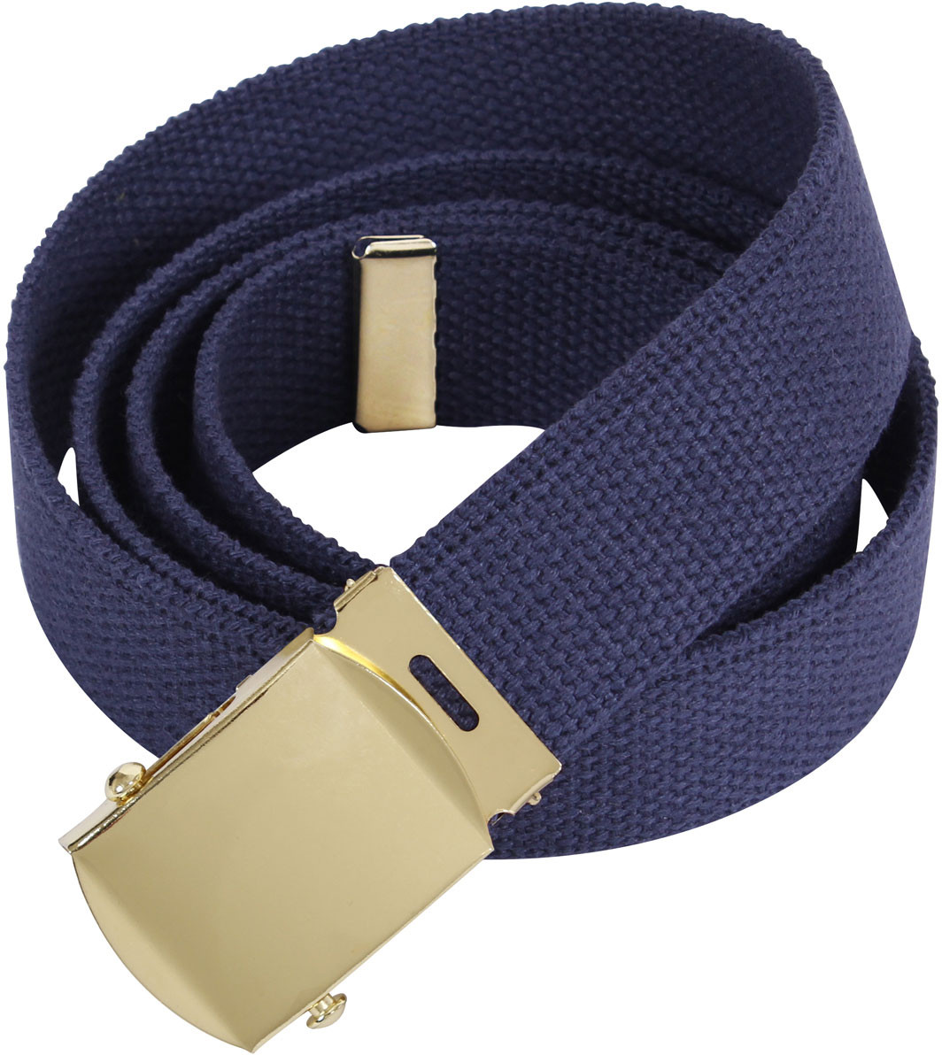 Navy Blue Military Web Belt with Brass Buckle f730bd69d