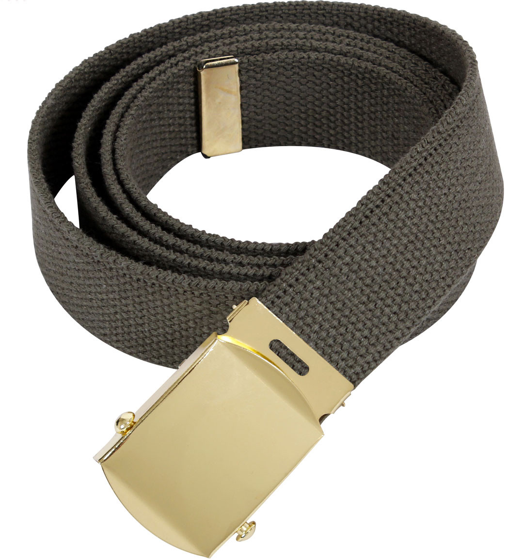 Olive Drab Military Web Belt with Brass Buckle 4a3240679a1