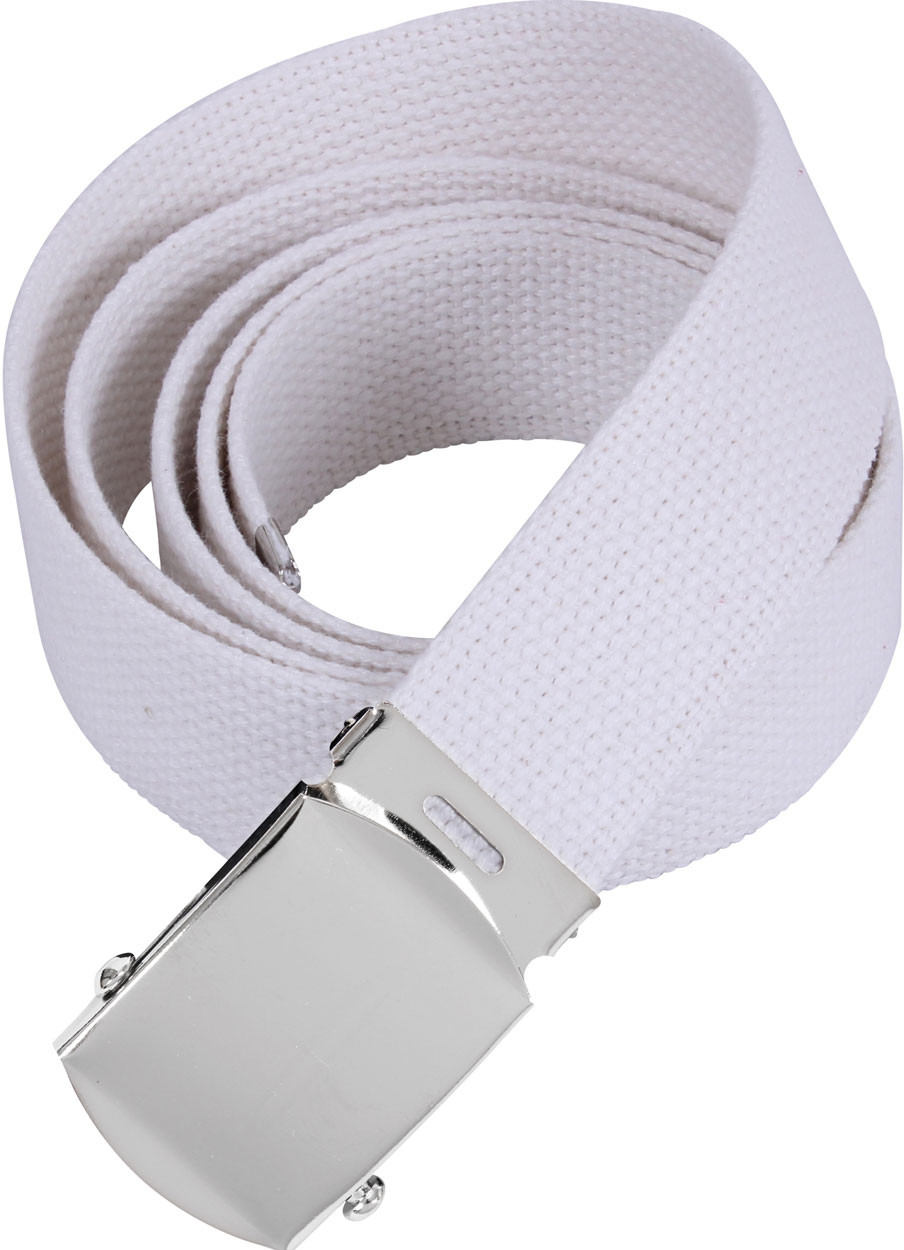 White Military Web Belt with Chrome Buckle (54