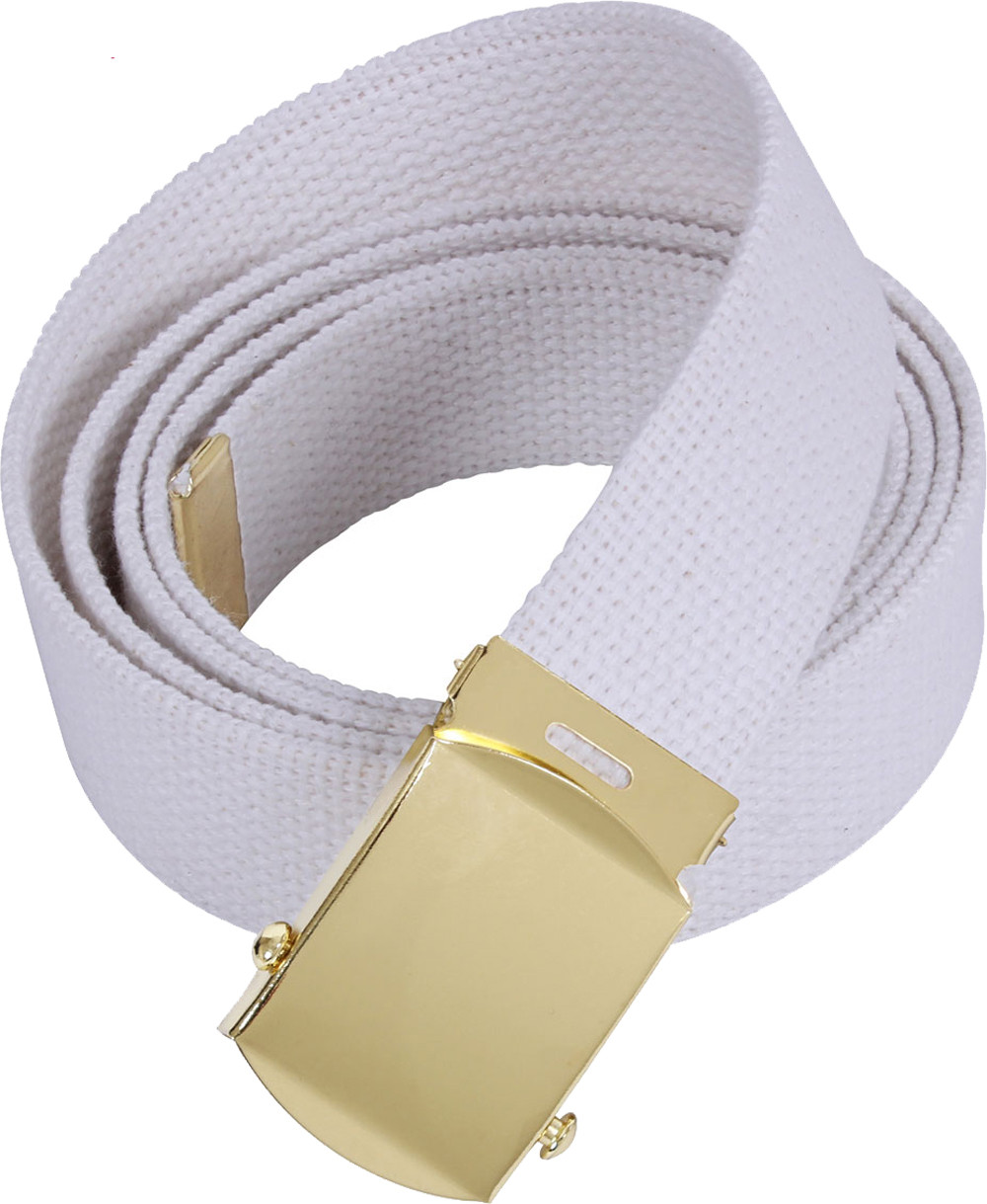White Military Web Belt with Brass Buckle 628349fce33