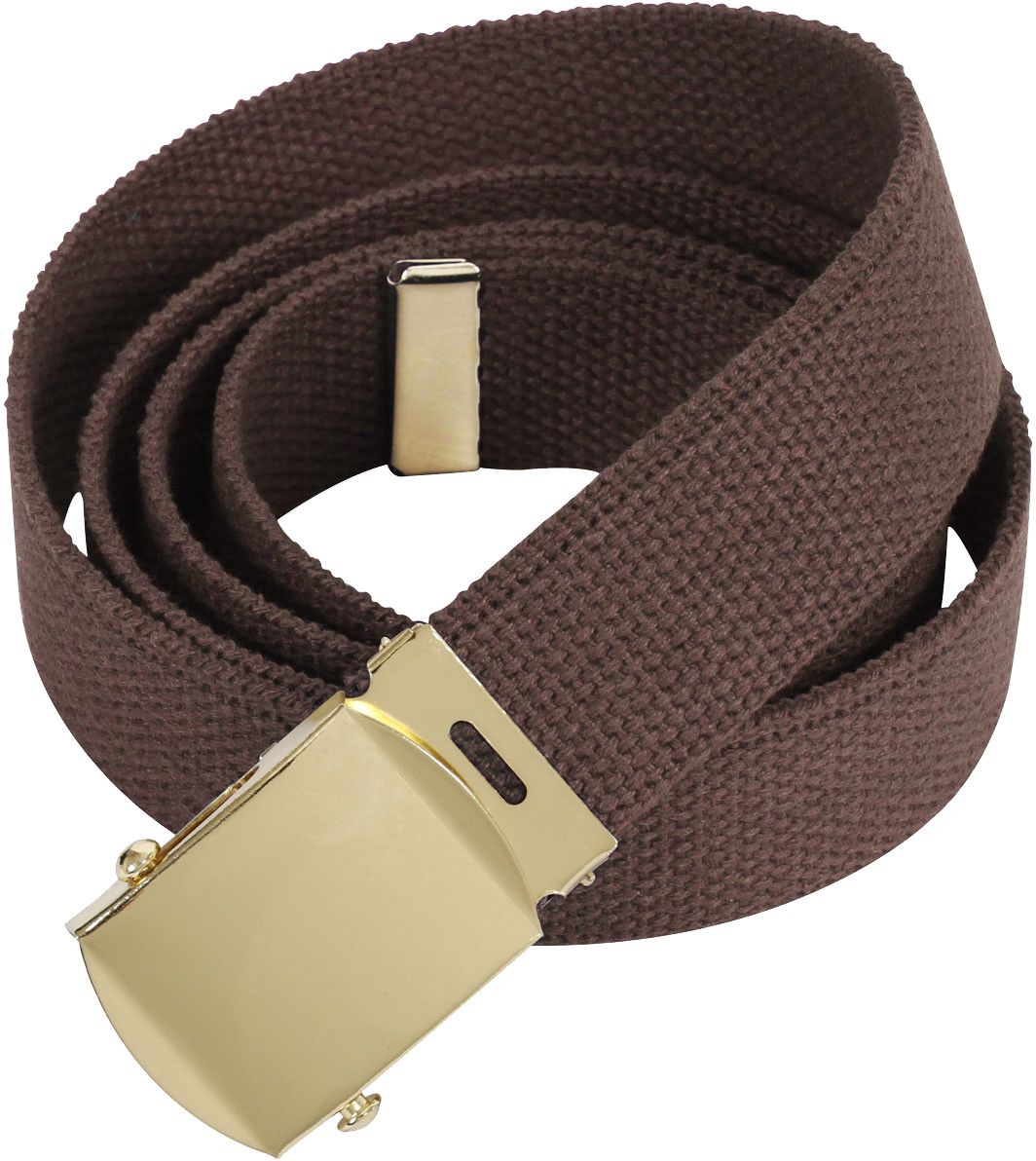 Brown Military Web Belt with Brass Buckle 24e69422f4c