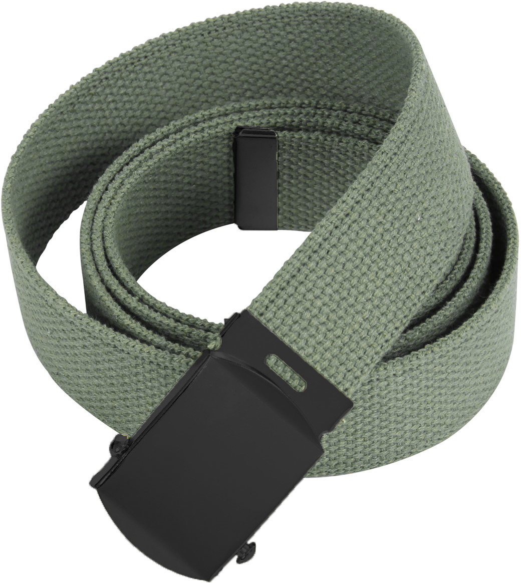 Foliage Green Military Web Belt with Black Buckle (54