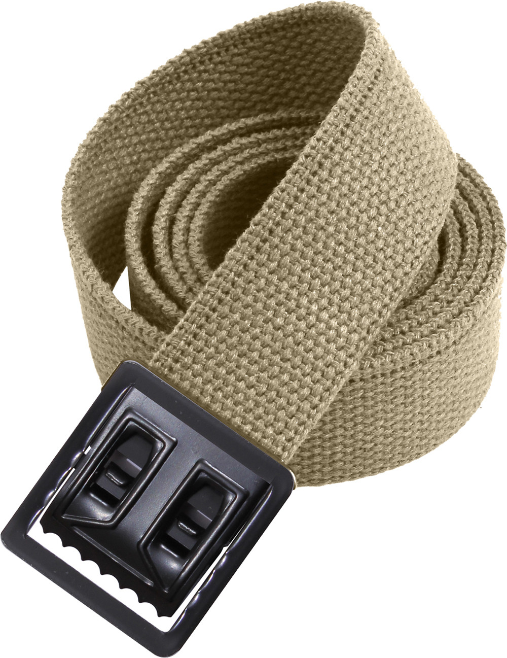 Khaki Military Web Belt   Black Open Face Buckle 72620982676