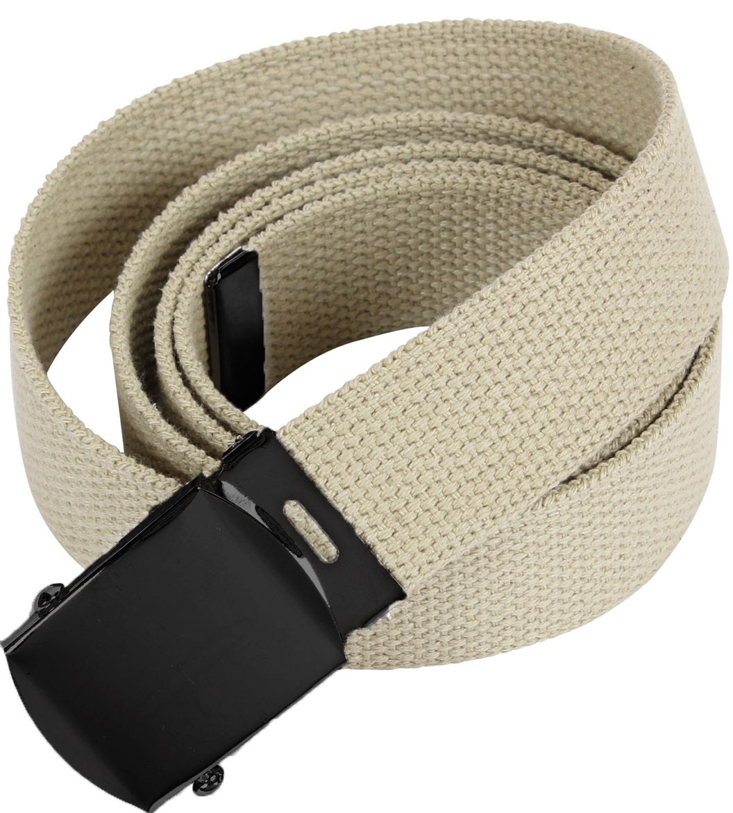 Khaki Military Web Belt with Black Buckle 602bdf73999