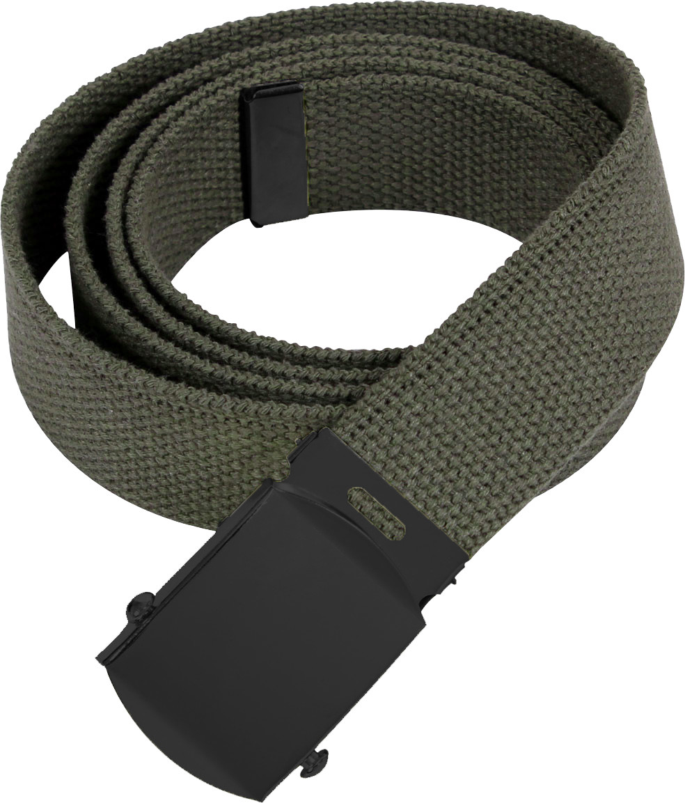 Olive Drab Military Web Belt with Black Buckle 4a4f2d23464