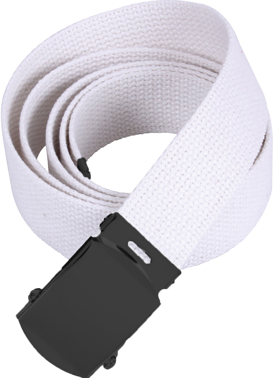 White Military Web Belt with Black Buckle (54