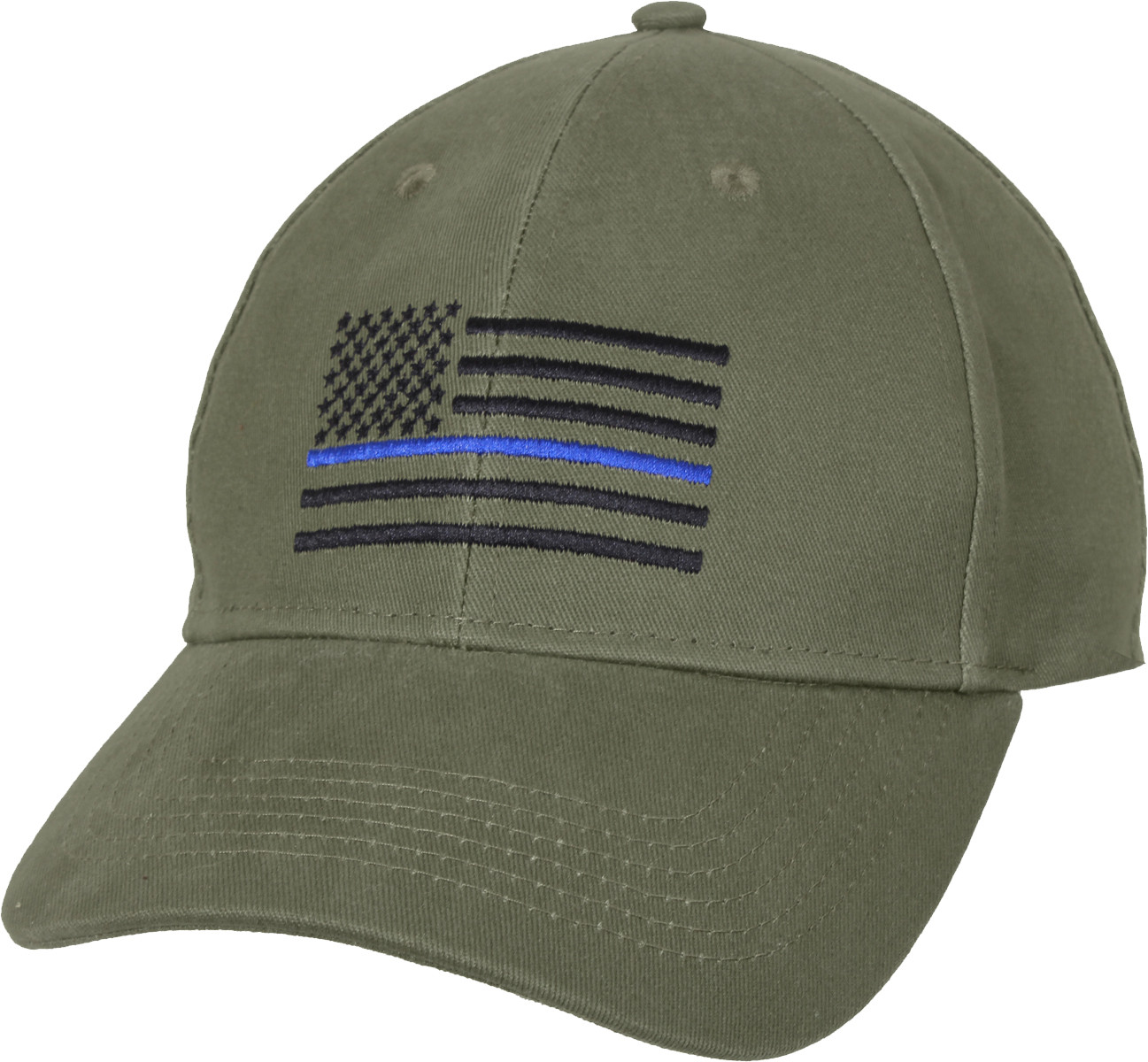 Olive Drab Thin Blue Line American Flag Support The Police Low Profile Cap b8831686a1c