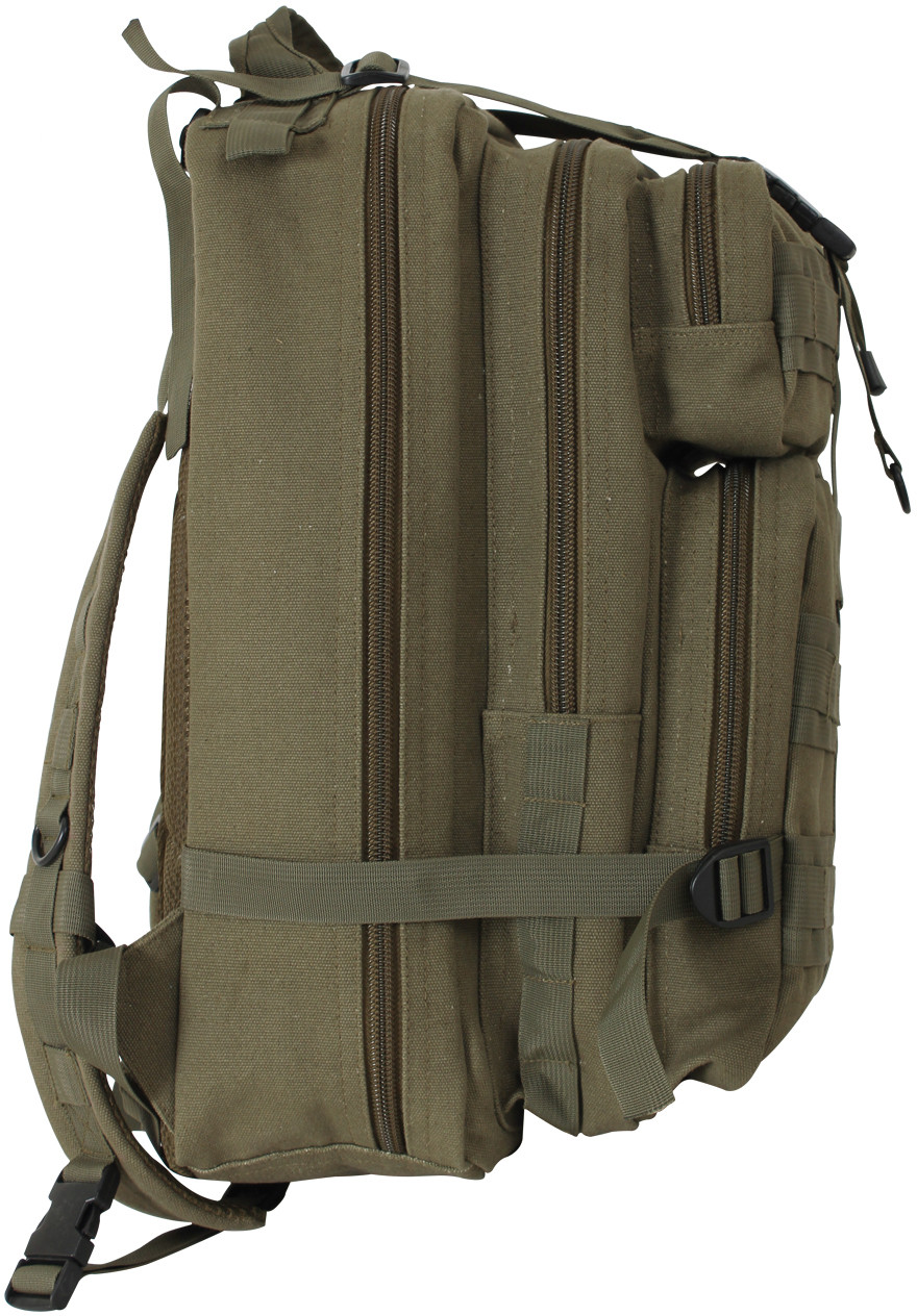 ... Olive Drab Canvas Military MOLLE Medium Transport Tactical Pack Backpack 013d44e3a82