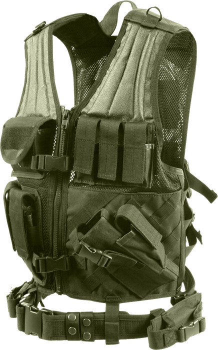 Olive Drab Military Polyester Cross Draw Tactical Vest 714f204f934