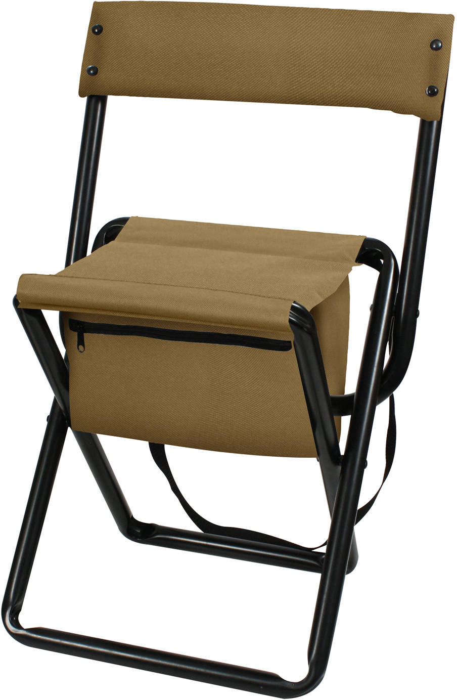 Coyote Brown Deluxe Folding Chair Stool with Storage Pouch