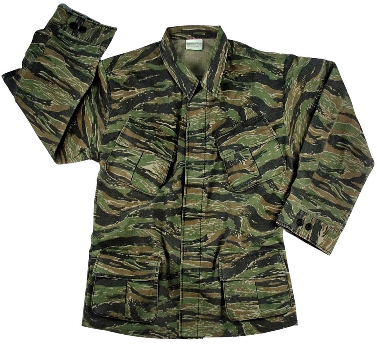 Tiger Stripe Camouflage 100% Cotton Rip-Stop Vintage Vietnam Military BDU  Fatigue Shirt 134122292c7