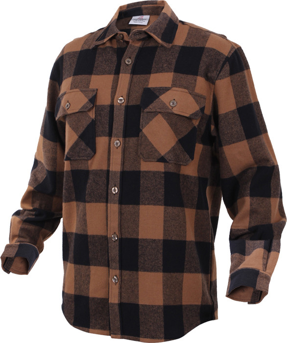 Brown Extra Heavyweight Brawny Buffalo Plaid Flannel Shirt 195c5ca9ac6