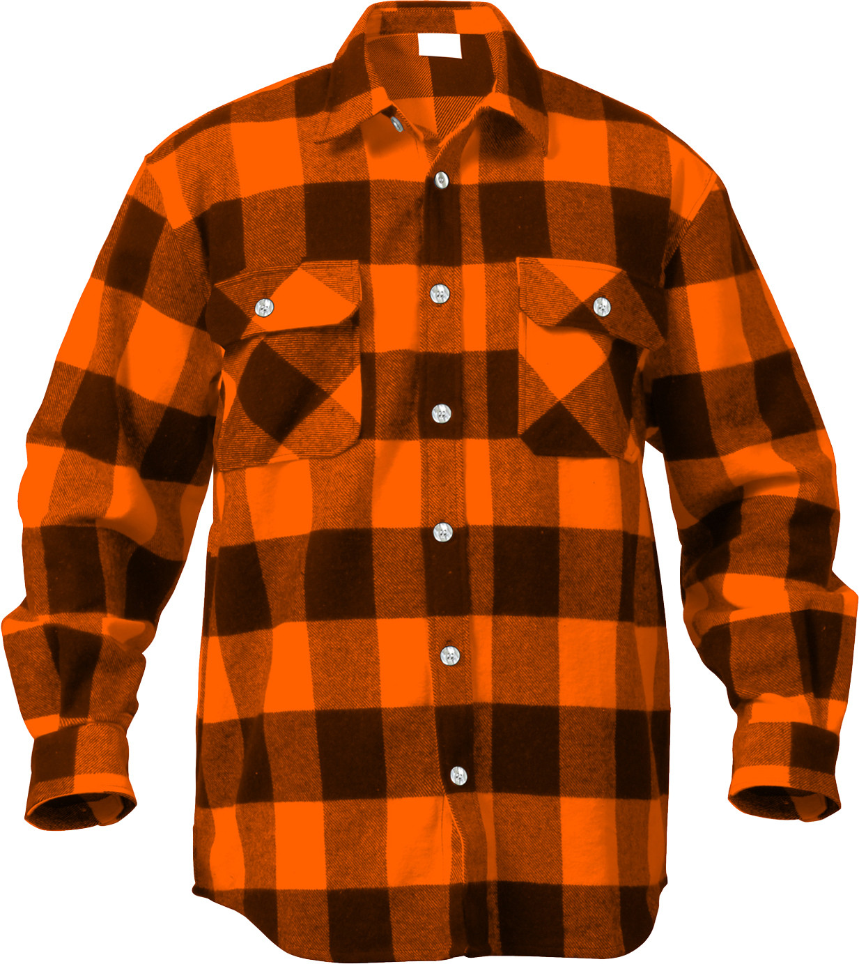Orange Extra Heavyweight Brawny Buffalo Plaid Flannel Shirt 3fa1a50cf6b