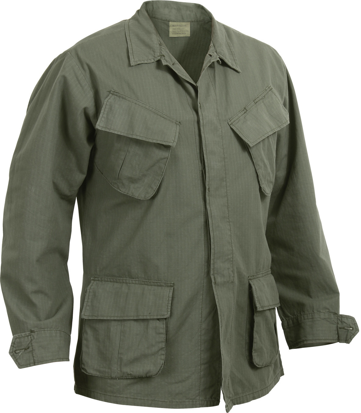Olive Drab 100% Cotton Rip-Stop Vintage Vietnam Military BDU Fatigue Shirt 8b165cc9780