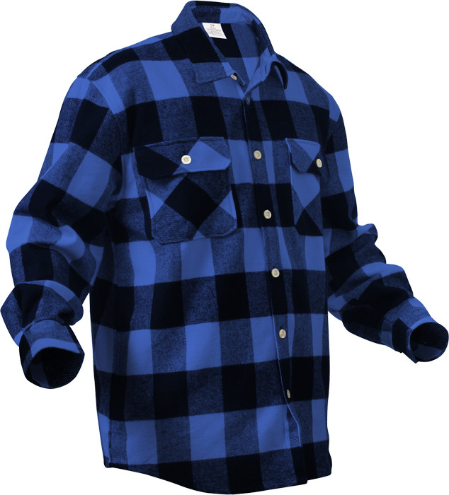Blue Extra Heavyweight Brawny Buffalo Plaid Flannel Shirt 5145975a925