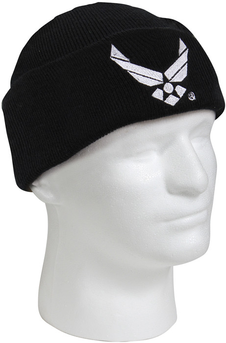 Black Military Winter Knit Hat Air Force Wing Acrylic Watch Cap 42b262f5de3