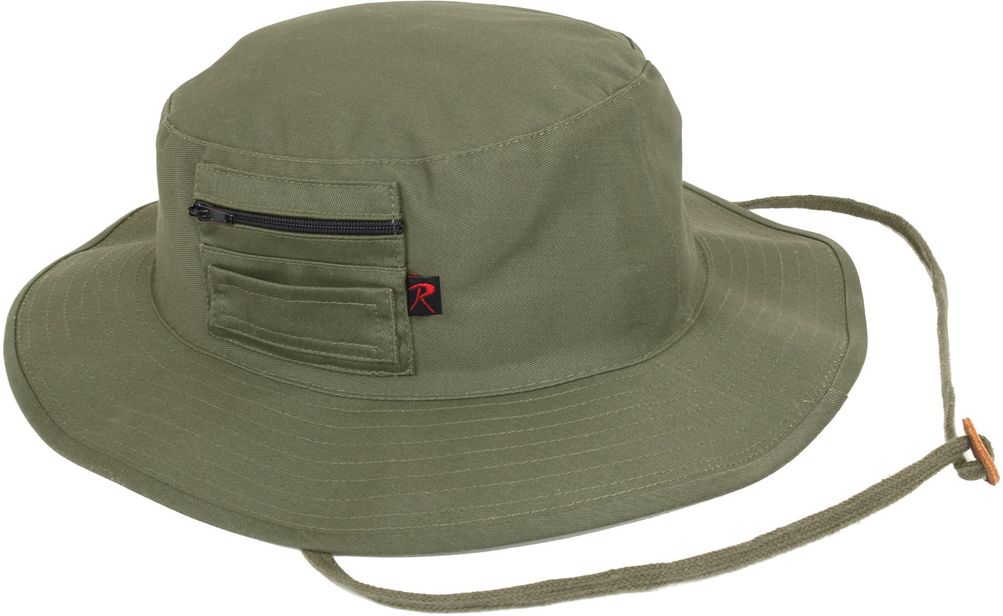Olive Drab Wide Brim Military MA-1 Style Boonie Hat With Pocket 4c96ac7e790