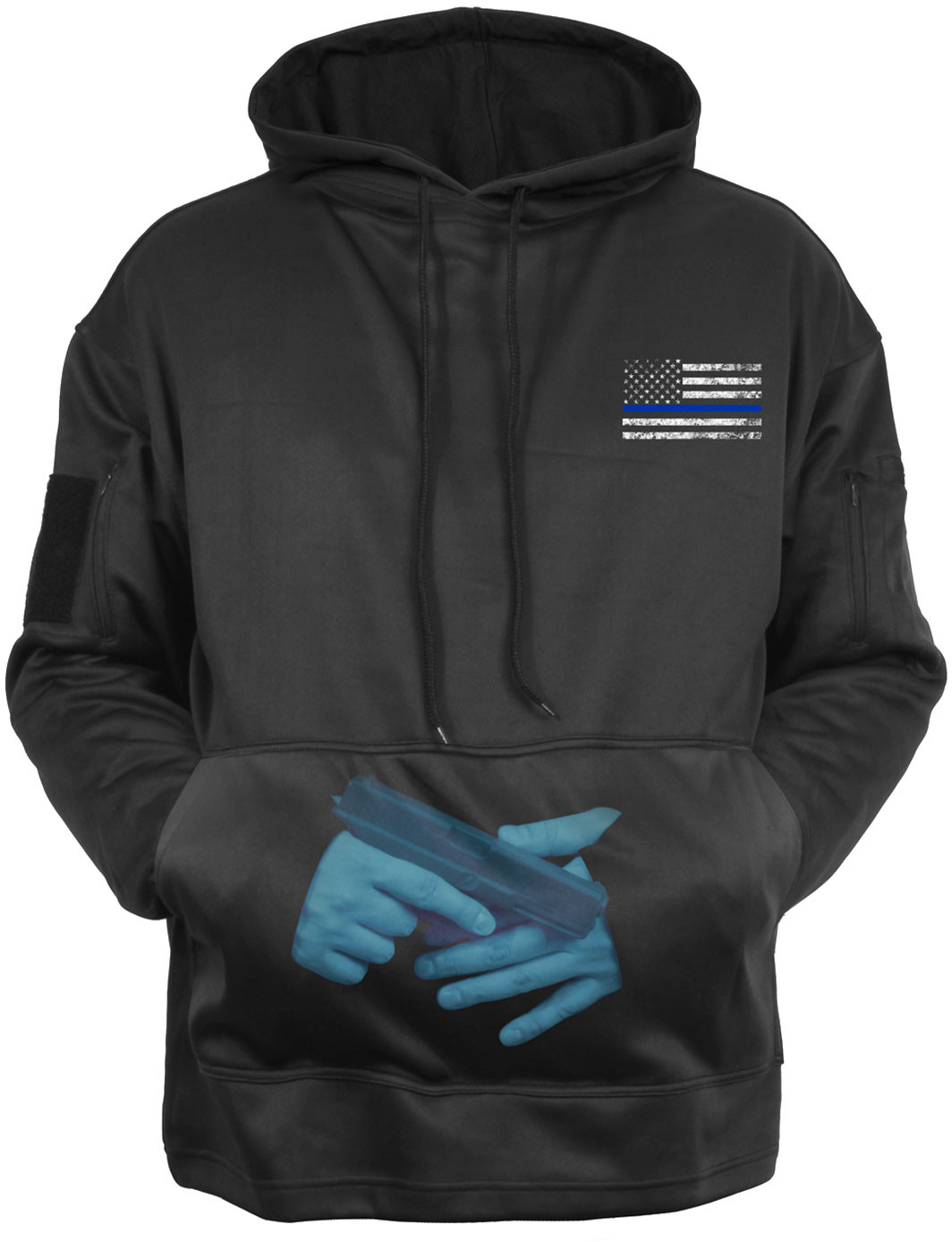 ... Black Concealed Carry Thin Blue Line Tactical Hoodie Sweatshirt ebdf701d30b